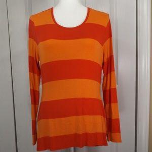 Vince Camuto Red & Orange Stripe Rayon T-Shirt M